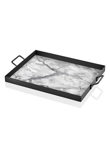 The Mia Tepsi Mermer Desen-Siyah-Beyaz 40 x 30 Cm Siyah